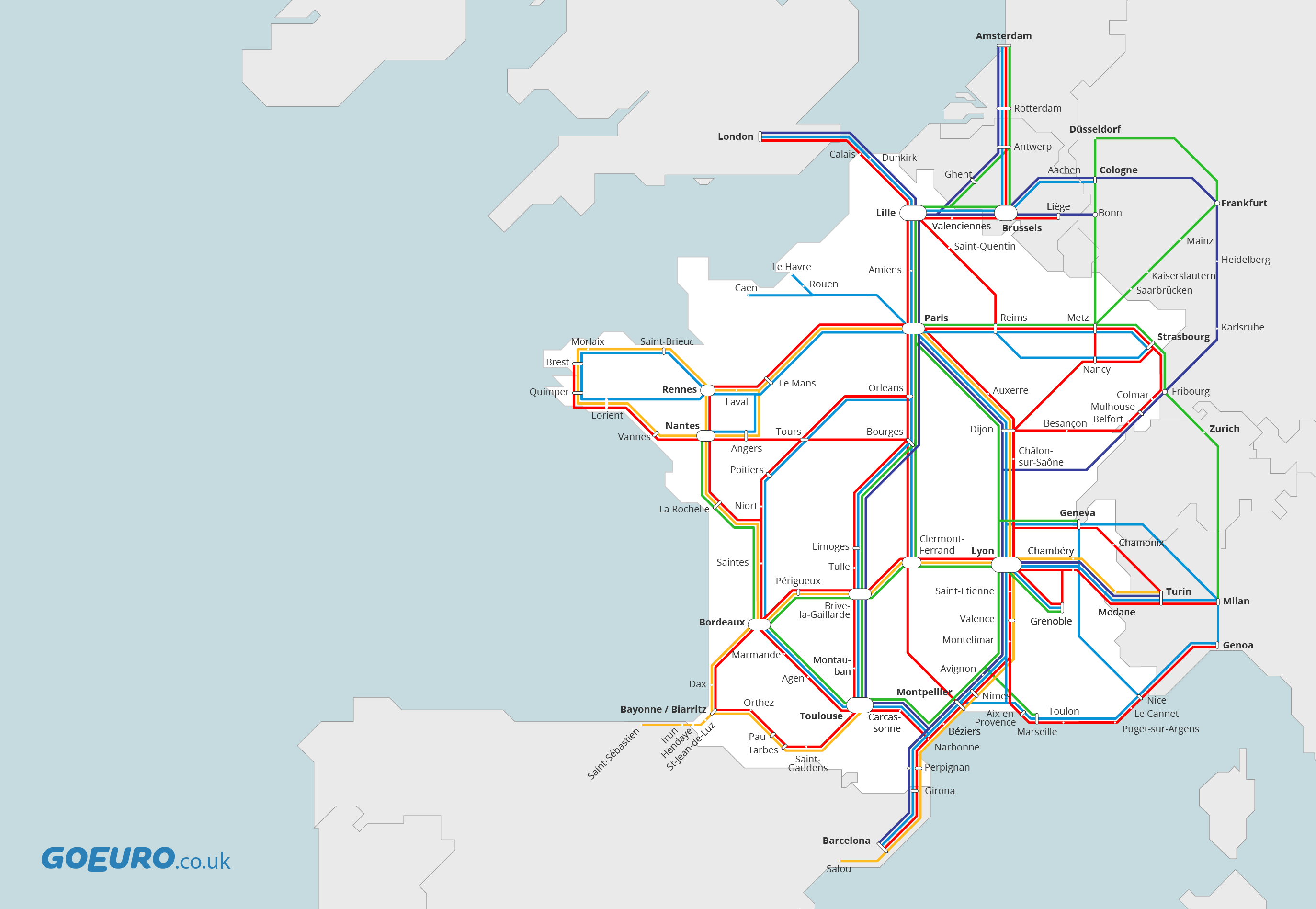 Buses in France – Train Travel France Map